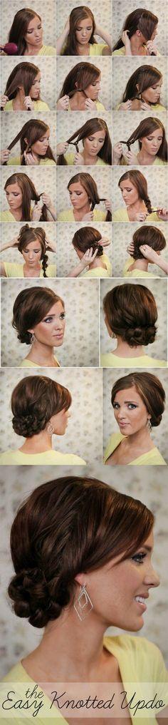 Easy updo tutorials for long hair. Cabello Hair, Fancy Hairstyles, Hair Dos, Hair Hacks, Hair Inspiration, Curly Hair Styles, Hair Makeup, Hair Beauty, Belleza Diy