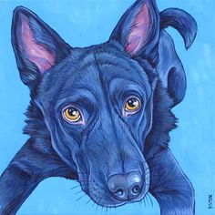 """Custom Pet Portrait Painting on Canvas 10"""" x 10"""" in Acrylics of One Dog, Cat, Other. Chow and Black German Shepherd Mix sample from Pet Portraits by Bethany."""