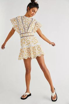 Make a statement in this so special romper featured in a bold, retro-inspired embroidered fabrication with lace inserting throughout and ruffled sleeves for added shape. Lace Insert, Style Guides, What To Wear, Cold Shoulder Dress, Rompers, Style Inspiration, Free People, Clothes, Dresses