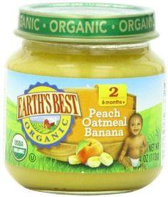 Earth's Best Organic Stage 2, Peach, Oatmeal & Banana