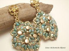 How to make Pellet  earrings, Jasper earrings,earrings tutorial with Superduo and Pellet beads by LineeAlchemiche on Etsy https://www.etsy.com/listing/198404424/how-to-make-pellet-earrings-jasper