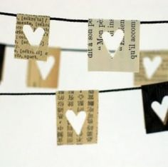 DIY heart banner....I love the paper used.