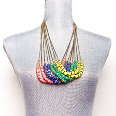 Neon beaded necklaces. Colours available: pink, teal , blue, yellow www.labordeshop.com