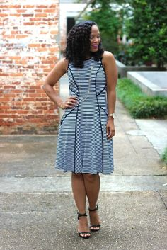 Navy and White Stripes Fit And Flare Dresses From Karen Kane #Plus #Size #Fashion