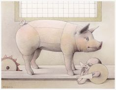 "Jane Lewis ""Earthlings - Pig in Hell"" (graphite and coloured pencil on paper) Jane Lewis, Coloured Pencils, Farm Animals, Art Images, Graphite, Dinosaur Stuffed Animal, This Or That Questions, Gallery, Paper"