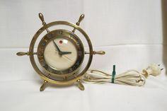 Vintage Ships Wheel Clock Brass Warren Telechron Company Ashland Massachusetts Electric Works by KansasKardsStudio on Etsy