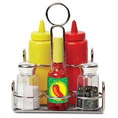 Melissa & Doug - 19358 - Würzmittelset a must have for the well appointed play kitchen these condiments sound and look like the real thing packaged in a handy metal caddy to keep everything organized the six piece set includes ketchup Ketchup, Diner Restaurant, Condiment Sets, Condiment Holder, Melissa & Doug, Play Food, Kitchen Sets, Chef Kitchen, Kitchen Stove