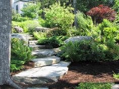 "landscaping: Stone slab ""stairs"" to the mailbox"