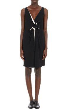 Lanvin Bow-Detailed Faux-Wrap Dress