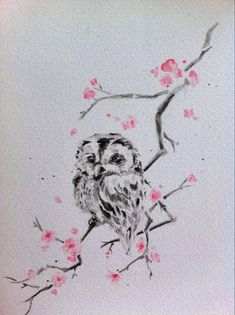 Watercolor. Sitting on an olive branch, rather than just a little one in the corner. More modern version of athena's owl. Love!!