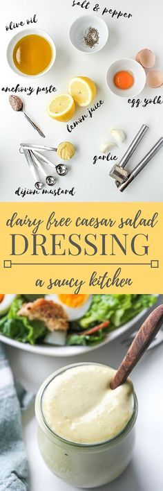 Simple Caesar Salad Dressing - paleo with a dairy free option. Easily make with an immersion blender or a tradition blender.