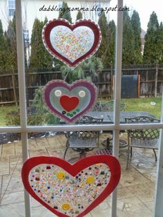Confetti, Beads and Button Hearts for Valentine's Day