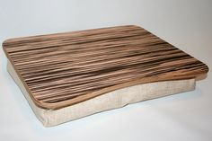 """Wooden Laptop Bed Tray / Pillow Tray / iPad Table / Breakfast Tray / Serving Tray / Laptop Stand  """"Zebrano Light"""""""
