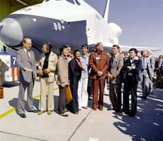 The Crew of the 'USS Enterprise' with the Space Shuttle Enterprise - Retronaut