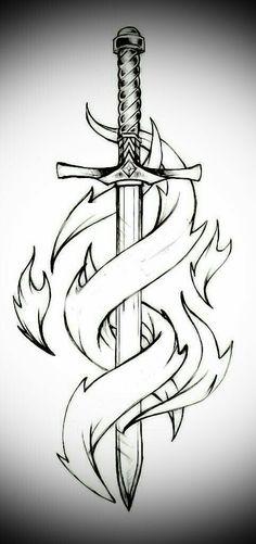 Sword and flames – Schwert und Flammen # 1 – Cool Art Drawings, Pencil Art Drawings, Art Drawings Sketches, Easy Drawings, Tattoo Drawings, Body Art Tattoos, Drawing Ideas, Sword Drawings, Sword Tattoo