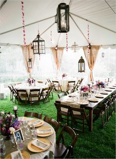 Rustic Vintage Chic Wedding with gold and purple wedding decor ideas Casual Wedding, Chic Wedding, Wedding Table, Rustic Wedding, Wedding Reception, Our Wedding, Dream Wedding, Lace Wedding, Tent Wedding