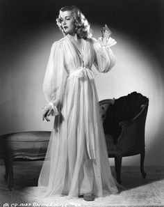 """theclutteredclassicattic: """" Anita Louise, 1940s """" Love dressing gowns."""