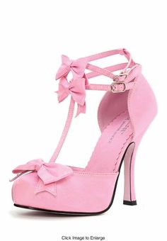 """4"""" Retro Satin Shoes with Bow  in Black and Pink"""