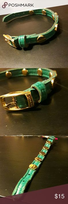 Cc skye turquoise leather bracelet Golden color and turqoise. Leather on end strap shows signs of wear like in pics. CC Skye Jewelry Bracelets