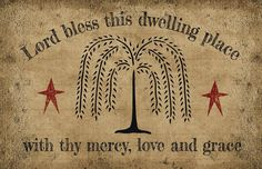 Primitive Folk Art Willow Tree Star  LORD BLESS THIS DWELLING PLACE Rug Mat