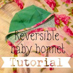 Reversible knit baby girl bonnet tutorial