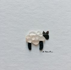 Wooly sea glass and pebble art sheep unframed by PebbleArt on Etsy More