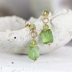 Raw Peridot Earrings Raw Stone Jewellery Drop Earrings