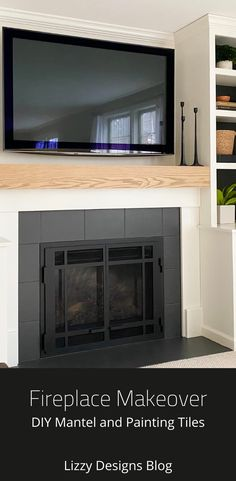 Fireplace Makeover: DIY Mantel and Painting the Tile Fireplace Remodel, Fireplace Mantels, Off Center Fireplace, Paint Tiles, Diy Mantel, Modern Farmhouse, Home Improvement, House Design, Interior Design