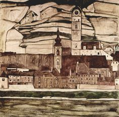 Egon Schiele. Stein an der Donau II. 1913. 90.5 × 90.5 cm. Oil on canvas. #egonschiele #art #painting #landcapes