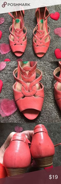 Nwot  coral Clarks! Sz 6.5 These Sandals are absolutely stunning. They are a dark coral. Never worn. No box. Thanks! Clarks Shoes Sandals