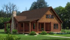 """""""The Chestnut"""" is one of the many log cabin home plans from Southland Log Homes. You can customize the Chestnut to meet your exact needs with our free design tools. This one might just be a workable plan!"""