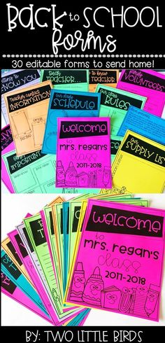 Back to school forms: 30 editable forms for back to school time.