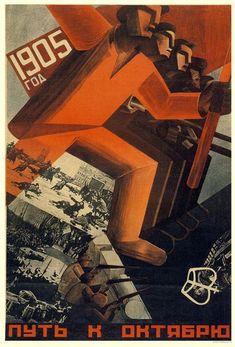 """""""1905 Road To October"""" Soviet poster by Valentina Kulagina, 1929"""