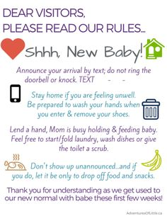 New Baby Visitor Rules Don't Wake the Mom or Babe Calgary AB YYC Birth Class