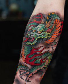 Japanese Forearm Tattoo, Dragon Tattoo Forearm, Dragon Tattoo Colour, Watercolor Dragon Tattoo, Small Japanese Tattoo, Dragon Tattoo Art, Japanese Tattoos For Men, Dragon Tattoos For Men, Dragon Sleeve Tattoos