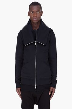 GARETH PUGH Black Tube Collar Zip Jacket