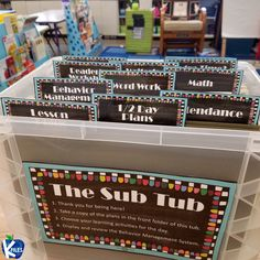 Creating a Sub Tub is the perfect solution to having to go to work sick. Here are suggestions of engaging yet easy to prep lesson plans for your substitute. Behavior Management System, Classroom Management, Management Tips, Time Order Words, The Important Book, Data Binders, Teacher Must Haves, Teacher Organization, Organization Ideas