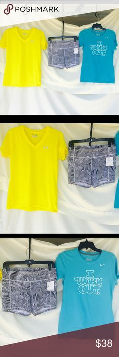 ALL 3 items INCLUDED N PRICE Will separate upon request! All for $38 or $15 each!! ALL BRAND NEW!! Shorts w/tags! ALL SIZE MEDIUM!! Under Armour Tops Tees - Short Sleeve