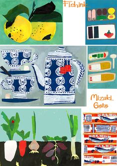 Mizuki Goto has a way with torn paper that she can create such adorable images. Here are some lemons, Veg and sushi.