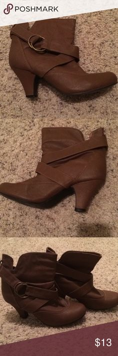 These boots were made for walking Brown ankle boots, SUPER comfy, low heel. Looks great with jeans or a dress! Charlotte Russe Shoes Ankle Boots & Booties