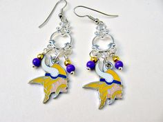 Minnesota Vikings Football Earrings by SportsJewelryStudio on Etsy.  Great gift for the Vikings fan!