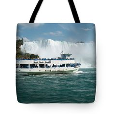 Boat Ship taking travellers to Niagara Falls view from Casino Casinorama Ontario Canada Vacation Tr Tote Bag for Sale by Navin Joshi Bag Sale, Niagara Falls, Ontario, Reusable Tote Bags, Canada, Boat, Ship, Vacation, Travel