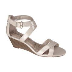 fd564fa9bbed Women s Merona® Edda Zip Back Low Wedge Sandal - Taupe Patent Low Wedge  Sandals