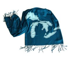 Great Lakes Scarf. Linen weave pashmina scarf. Lakes Michigan, Superior, Huron, Erie, Ontario. Choose teal blue scarf and more. by Cyberoptix on Etsy https://www.etsy.com/listing/234137510/great-lakes-scarf-linen-weave-pashmina