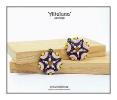 Bead pattern DIY tutorial Altaluna earrings made with Arcos, Minos, Swarovski, O…