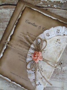 Romantic Rustic Coral Rose Wedding Invitation by WALKinLOVEdesigns, $4.75
