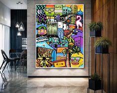 Original Painting Modern Art For Sale, Modern Pop Art, Wall Art Decor, Wall Art Prints, Canvas Prints, Large Wall Art, Large Art, Grand Art Mural, Original Art