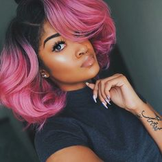 Beautiful hair, ombre bob hair~ Wig installed, very natural and perfect on her. what do you think?
