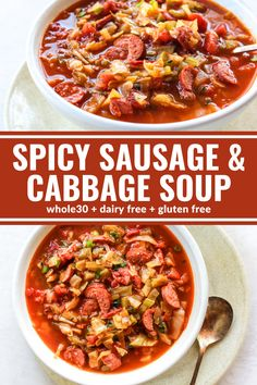 This Spicy Sausage & Cabbage Soup is light on calories but big on flavor. It will heat you from the inside out on a chilly evening. Plus it's dairy free, & gluten free! Spicy Sausage, Sausage Soup, Sausage Recipes, Whole30 Soup Recipes, Healthy Recipes, Thm Recipes, Diabetic Recipes, Healthy Foods, Healthy Life