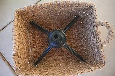 Skip the Christmas tree skirt and put the tree stand in a basket